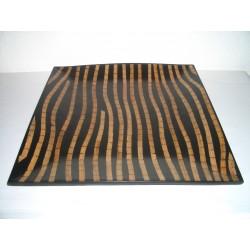 Square plate bamboo zebra