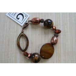 BXE-120 Tiger Eye w Shell Cop. Bracelet
